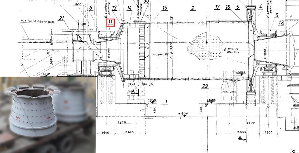 مخروط ورودی آسیاب Ballmill inlet cone